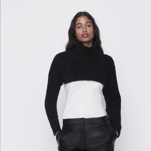 Zara black cable knit sleeve scarf sweater Nwt